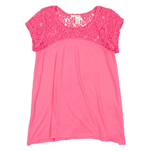(Dkny Jeans Womens Short Sleeve Lace Top (X-Large, Hot Pink))