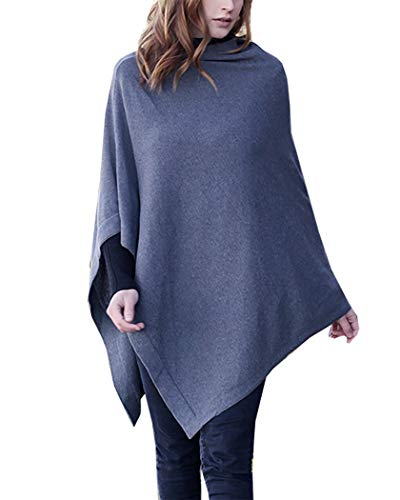 - Women's Knit Poncho Sweater Knitted Pullover Cardigan Topper, 100% Organic Cotton, Super Soft, All-Season (15 COLORS) (Steel Gray)