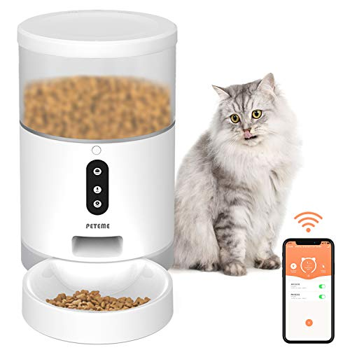 Peteme Automatic Cat Feeder, Smart Pet Feeder with APP Control, Food Dispenser for Cats, Dogs & Small Pets , 2.4G Wi-Fi Enabled, Portion Control, 4L