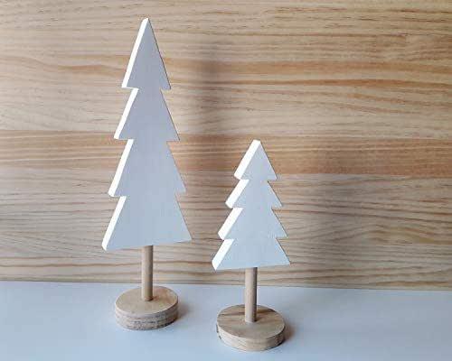 Pack de árboles de Navidad de madera en blanco y pino natural de estilo nórdico - Alturas: 32 cm y 20,5 cm - Decoración de diseño escandinavo y minimalista para el hogar