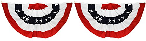 Usa Flag Bunting (Patriotic Pleated American Flag Bunting 3-Foot x 1-1/2-Foot Pack of 2)