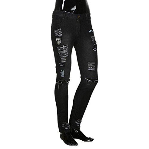 Para Pantalones Largos Denim Hombre Casuales Pitillo Vaqueros Con Vaqueros DecoracióN LHWY Rotos Ciclismo Elasticos Negro 8zWvnP