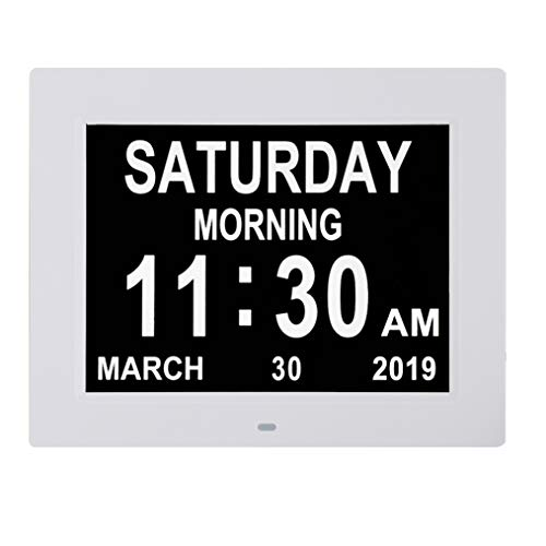 Digital Calendar Day Clocks Extra Large Non-Abbreviated Day&Month.Perfect for Seniors + Impaired Vision Dementia (White,8-inch)
