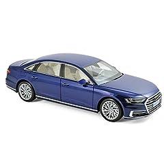 Brand new 1:18 scale diecast car model of 2017 Audi A8 L Blue Metallic die cast model car by Norev 188365