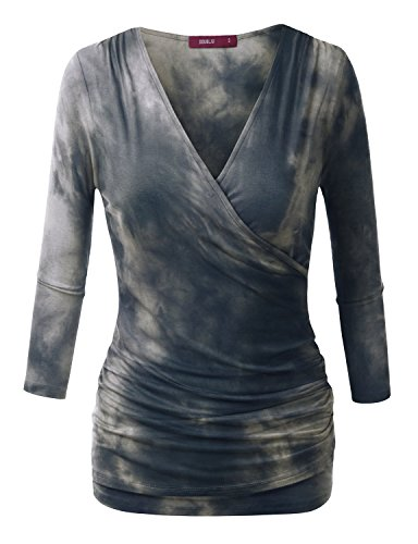 Doublju 3/4 Sleeve Fitted Deep V-Neck Surplice Tops for Women with Plus Size NAVYGRAY ()