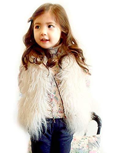 Aukmla Baby Fur Vest Child Furry Vest Faux Fur Gilet in Spring Autumn and Winter (White, 140cm)]()