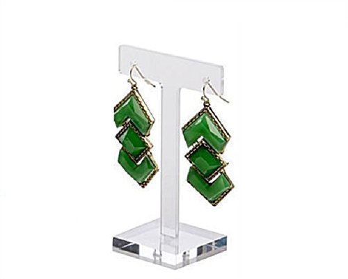 Marketing Holders Clear Acrylic Earring Holder with T-Shaped Tree Design Large (6) - Clear Acrylic T-square