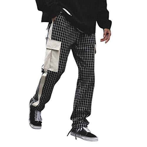 TANLANG♥ Men Casual Plaid Printed Beam Trousers Leisure Loose Simple Basic Length Pants Black