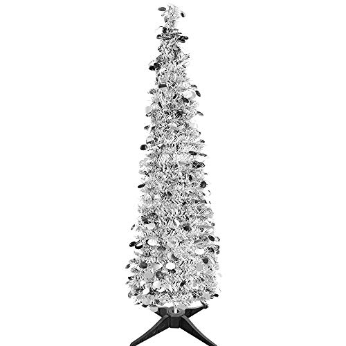 JHYQ-US 5 ft Collapsible Christmas Trees Tinsel Artificial Tree for Home Christmas Decoration with Stand (Sliver) ()