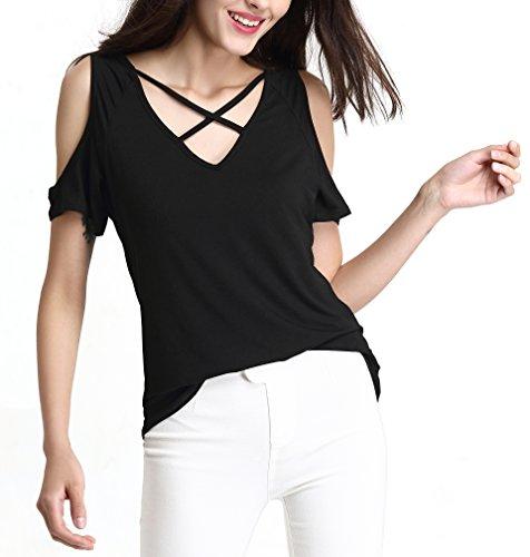 Abollria Women's Summer Cross Front Shoulder Off Tops Deep V Neck Short Sleeve Casual Teen Girls Tees T Shirts