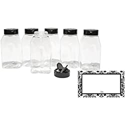 "CLEAR PLASTIC SPICE BAIRE BOTTLES, 16 oz Refillable, 6-Pack, Black Flapper Lid, Sifter Shaker Holes and Pour Open Sides, ""Sealed for Freshness"" Liners, PET, BPA Free, BONUS 6 DAMASK WATERPROOF LABELS"