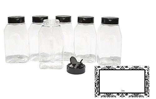 (BAIRE BOTTLES - 16 oz CLEAR PLASTIC SPICE JARS - 6 Pack, Black Flapper Lid, Sifter Shaker Holes and Pour Open Sides,