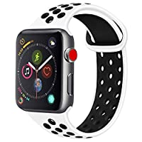 Tobfit Silicone Bands Compatible with Watch Band 38MM 40MM 42MM 44MM, Breathable Replacement Sport Strap Compatible with iWatch Series 4/3/2/1