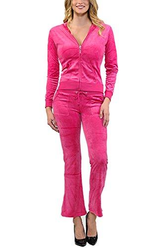 ViiViiKay Women's Soft Velour Tracksuit Athletic Zip Up Hoodie & Sweat Pants Set 001_FUCHSIA ()