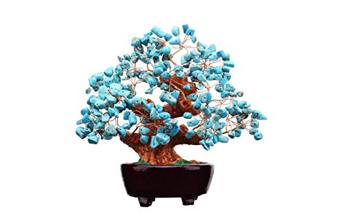 WELCOMING 7-inch Natural Blue Turquoise Gemstone Money Tree, feng Shui Crystal Stone