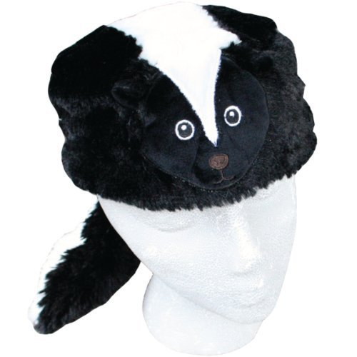 [Child Faux Fur Skunk Animal Hat Cap, Small, Children Kids, Black White, Lined] (Raccoon Girl Costumes)