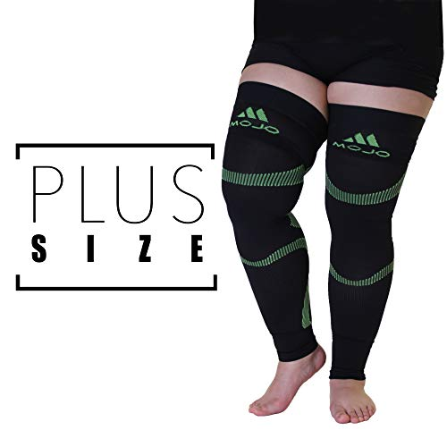 MoJo Sports XXL Full Leg Support & Recovery Compression Thigh Sleeve - Treat Hamstring and Quad Injuries - Hamstring Compression Sleeve - Running Compression Thigh Sleeve (3XL, Black Green) (Support Thigh Xxl)