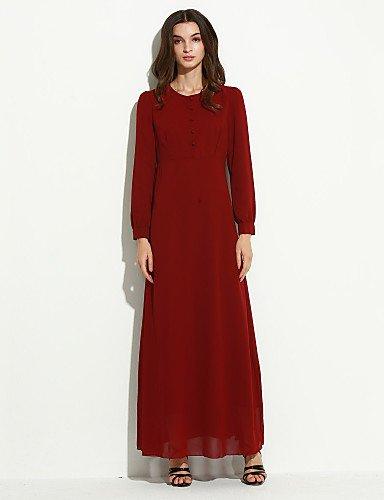 Vert Xuanku Les Femmes 039;S Vintage Mousseline Col Rond Manches Longues Robes Décorées Bouton Medium
