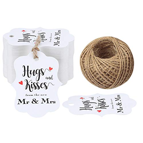 Original Design 100PCS Hugs & Kisses from The New Mr & Mrs Gift Tags, Wedding Favor Gift Tags with 100 Feet Natural Jute Twine Perfect for Bridal Baby Shower Anniversary Decoration
