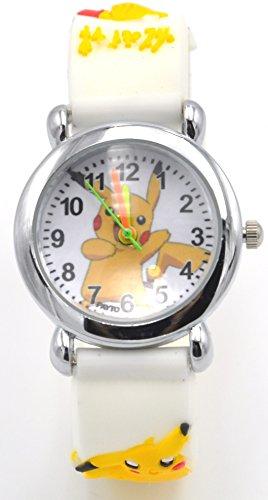 Pokemon Watch Pikachu Watch 3D Silicone Wristwatch Gift Set for Kids, Boys or Girls (White)