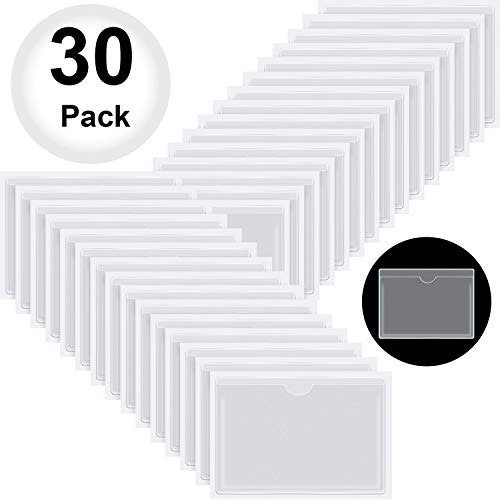 30 Pack Self-Adhesive Business Card Pockets with Top Open for Loading - Card Holder for Organizing and Protecting Your Cards or Photos - Crystal Clear Plastic, 4.33 x 6.3 Inches (Photos Holder)
