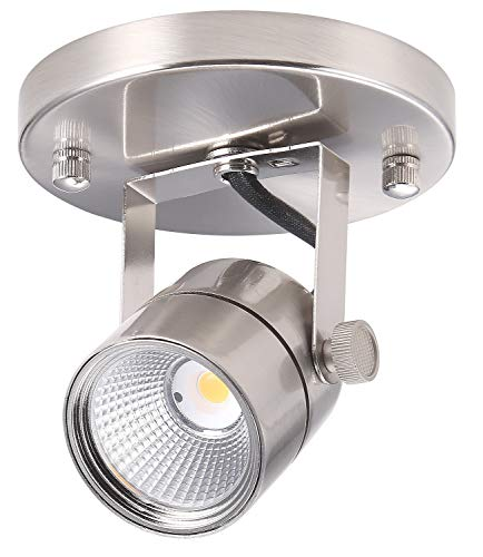 Cloudy Bay LED Track Light Head,CRI90+ Warm White Dimmable,Adjustable Tilt Angle Track Lighting Fixture,8W 40° Beam Angle,Brushed Nickel