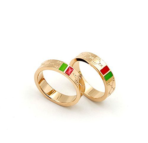 Luxury Shine Celebrity Ring Classic Red And Green Bar TISCO Ring(7)