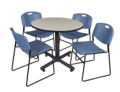 Zeng Stacking Chair - Regency Kobe 42-Inch Round Breakroom Table, Maple, and 4 Zeng Stack Chairs, Blue