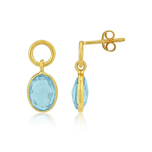 Circle & Blue Topaz Drop Earrings