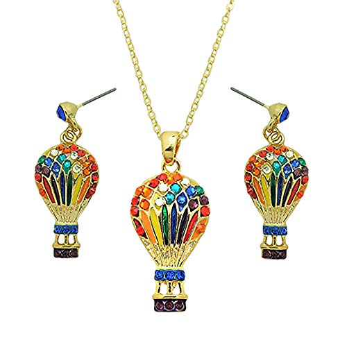 Balloon Rides Air Hot - Lola Bella Gifts Crystal Colors of The Rainbow Hot Air Balloon Necklace and Earrings Set with Gift Box