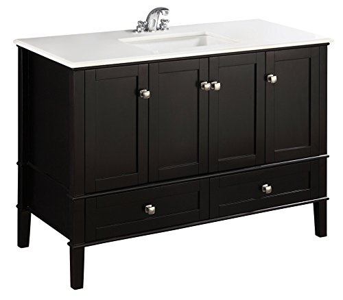 China Black Marble - Simpli Home NL-ROSSEAU-ES-48-2A Chelsea 48 inch Contemporary Bath Vanity in Black  with White Engineered Quartz Marble Top
