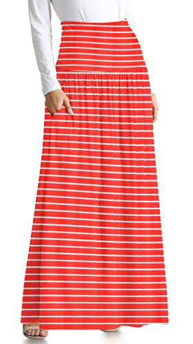 Long Go Red Skirt - Red Skirts for Women Ankle Length Skirt Long Striped Skirt High Waisted Maxi Skirt Reg and Plus Size Red Skirt (Size Large US 8-10, Red Stripe Ankle-Length)