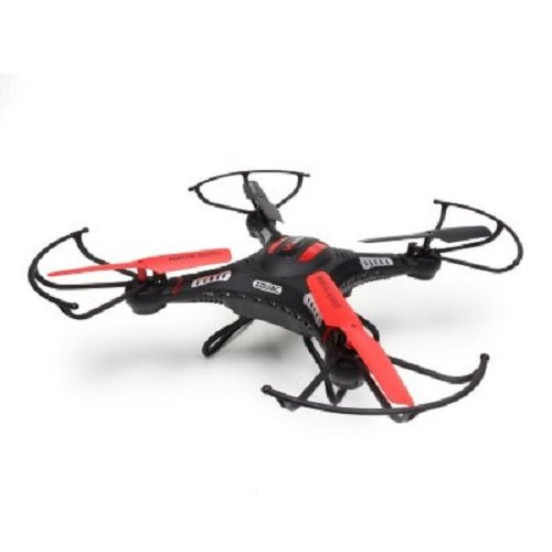 6-Axis Gyro Remote Control Quadcopter Flying Drone with HD Camera, LED Lights, (Black) ()