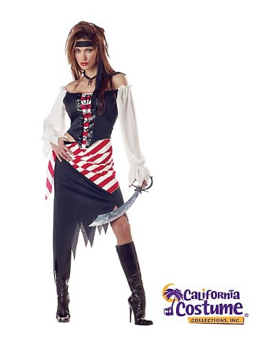 Wench Halloween Makeup (California Costumes Women's Ruby The Pirate Carribbean XL White and Black and)