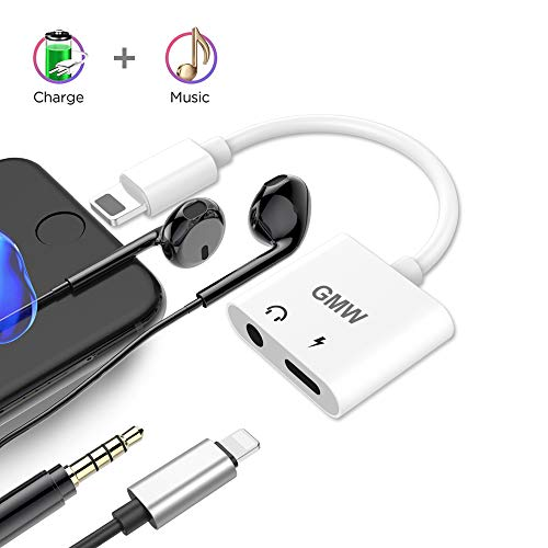 GMW EL-PN-47337740 Headphone Jack to 3.5 mm Earphone Port Adapter Earbuds Audio Splitter Charge Connector Compatible Phone XS Max/X/7/Plus /8/Plus Support Listen Music Charge (Support iOS 10.3/11 or Later), Ultra Clear HD