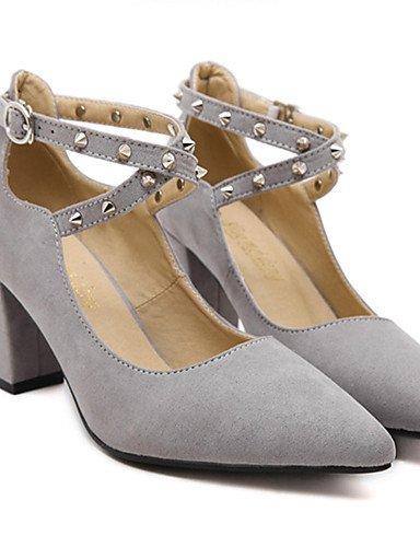 GGX/ Damen-High Heels-Kleid / Party & Festivität-Vlies-Blockabsatz-Absätze-Schwarz / Grau gray-us6.5-7 / eu37 / uk4.5-5 / cn37