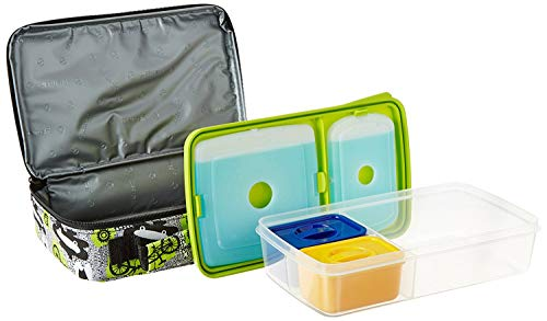 Fit & Fresh Bento Box Lunch Kit with Reusable BPA-Free Removable Plastic Containers, Zipper Insulated Lunch Bag and Ice Packs, Kids, Men, Ladies (Surf Sketch)