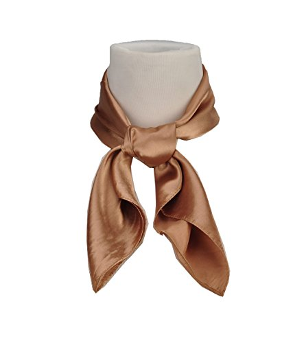 Brown Square Neck (Women's Fashion Soft Satin Square Scarf Set Head Neck Multiuse Solid Colors Available (Coffee))
