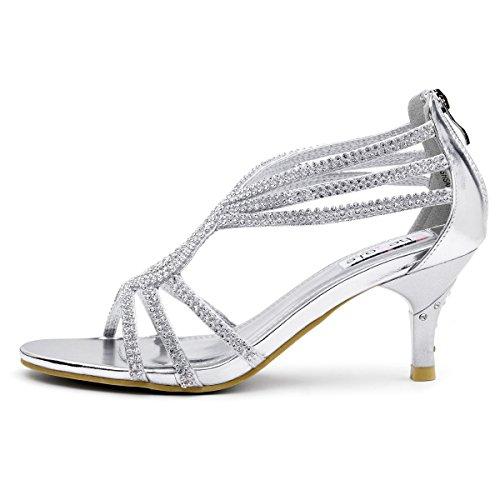 6132b9804bb9f SheSole Women s Low Heel Dance Wedding Sandals Dress Shoes - Import It All