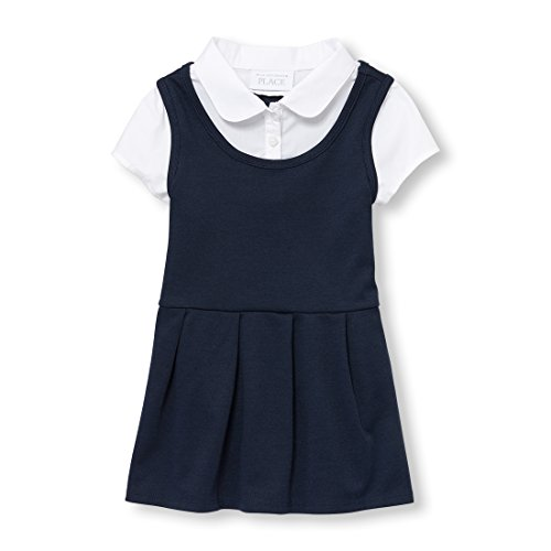Together Knit Dress - The Children's Place Baby Girls Uniform Short Sleeve Faux-Layered Knit Dress, Tidal 97033, 2T