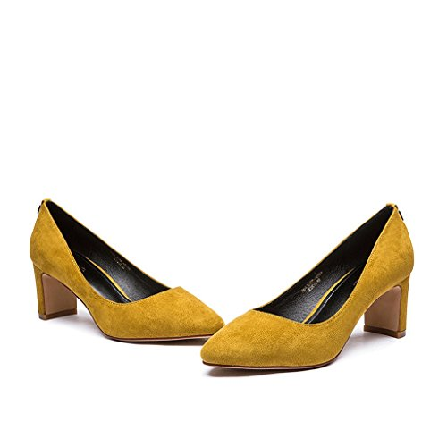 Dream Spring and Summer Elegant High Heels Sexy Pointed Roman Shoes Yellow DD5lB
