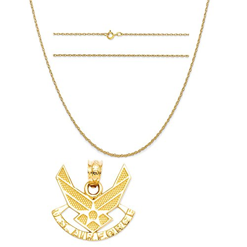 (K&C 14k Yellow Gold U. S. Air for ce Pendant on a 14K Yellow Gold Carded Rope Chain Necklace, 16