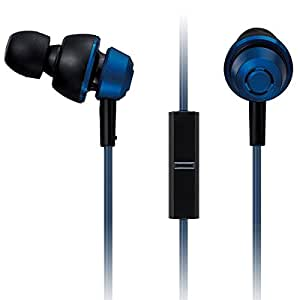 Panasonic drops360° Premium In-Ear Stereo Headphones with Mic + Controller RP-HJX6M-A (Metallic Blue) with Travel Pouch, Powerful Bass