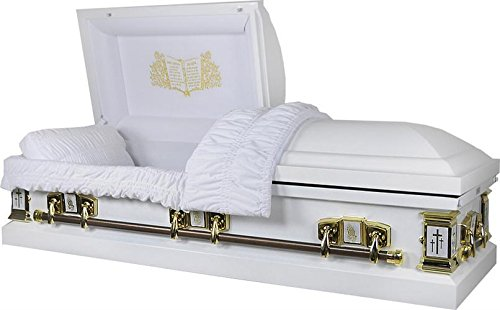 Overnight Caskets - White Cross White Finish W White Interior 18 Gauge Metal Casket / Coffin - Full Casket