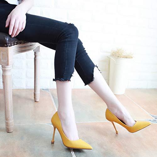 Yukun zapatos de tacón alto Zapatos De Tacón De Aguja De Otoño Acentuados Zapatos Femeninos Boca Baja Era Zapatos Delgados Solos Femenino, 39, Rose Red Yellow