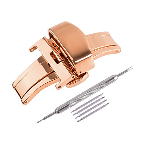 - Ritche 22mm Rose Gold Stainless Steel Double Push Button Butterfly Deployment Clasp For Leather Watch band Strap