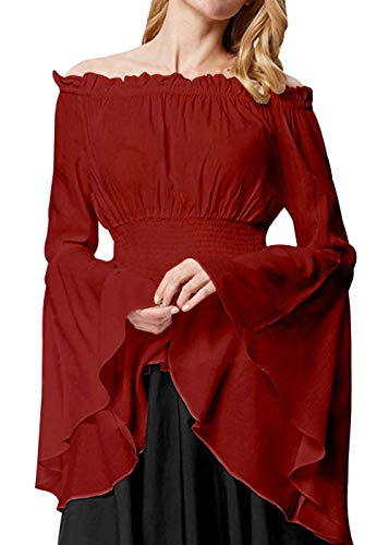 Womens Renaissance Blouse Off Shoulder Trumpet Sleeve Peasant Tops Medieval Victorian Costume (M, Red)]()