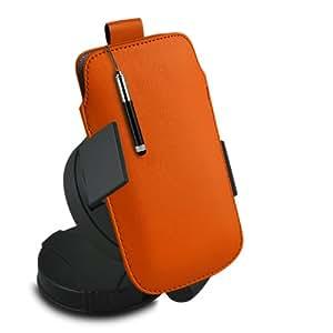 ONX3 Sony Xperia C Leather Slip cuerda del tirón de la PU de protección en la bolsa con el caso de Quick Release, 360 que gira la horquilla del parabrisas del coche y mini pluma capacitiva Retractabletylus (Naranja)