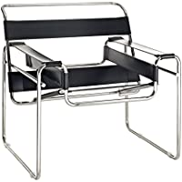 Modway Premium Wassily Style Chair in Black Leather