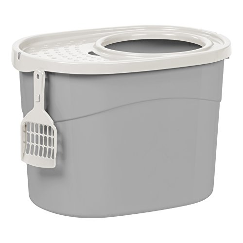 IRIS Top Entry Cat Litter Box with Scoop, Gray and White (Large Enclosed Cat Litter Box)